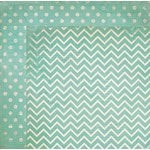 BoBunny - Double Dot Designs Collection - 12 x 12 Double Sided Paper - Chevron - Island Mist