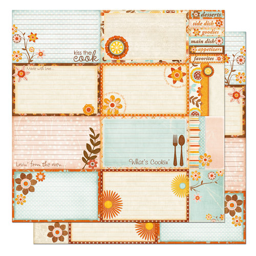 Bo Bunny Press - Kitchen Spice Collection - 12 x 12 Double Sided Paper - Kitchen Recipe Cards Cut Outs