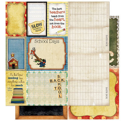 Bo Bunny Press - Learning Curve Collection - 12 x 12 Double Sided Paper - Learning Curve Cut Outs