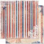 Bo Bunny Press - Liberty Collection - 12 x 12 Double Sided Paper - Stripe