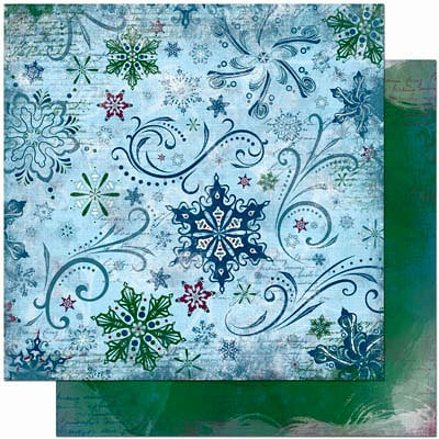 Bo Bunny Press - Midnight Frost Collection - Christmas - 12 x 12 Double Sided Paper - Midnight Frost Flurry