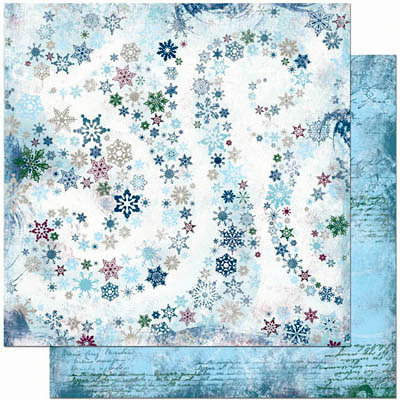Bo Bunny Press - Midnight Frost Collection - Christmas - 12 x 12 Double Sided Paper - Midnight Frost Snowfall