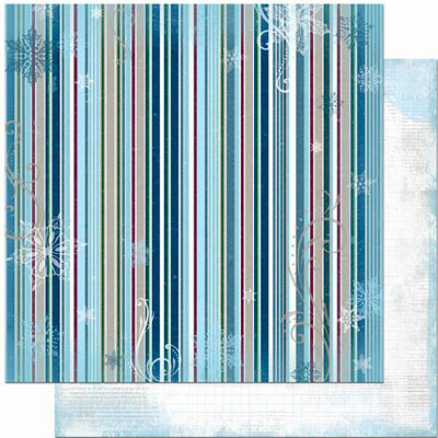 Bo Bunny Press - Midnight Frost Collection - Christmas - 12 x 12 Double Sided Paper - Midnight Frost Stripe