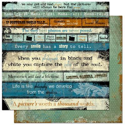 Bo Bunny Press - Mama-razzi Collection - 12 x 12 Double Sided Paper - Mama-razzi Word