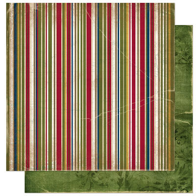 Bo Bunny Press - Noel Collection - Christmas - 12 x 12 Double Sided Paper - Noel Stripe