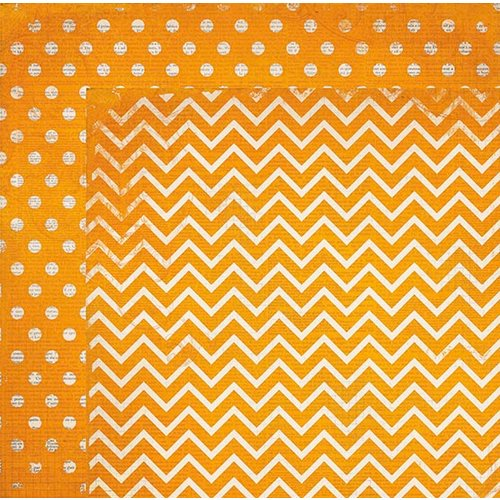 BoBunny - Double Dot Designs Collection - 12 x 12 Double Sided Paper - Chevron - Orange Citrus