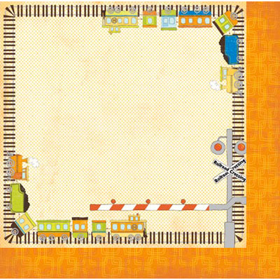 Bo Bunny Press - On The Go Collection - 12 x 12 Double Sided Paper - Choo Choo