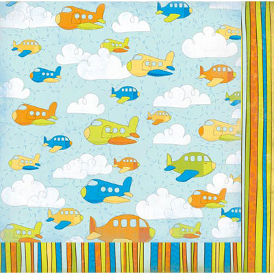 Bo Bunny Press - On The Go Collection - 12 x 12 Double Sided Paper - Planes