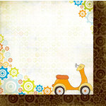 Bo Bunny - On The Go Collection - 12 x 12 Double Sided Paper - Scooter