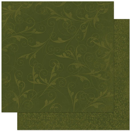 BoBunny - Double Dot Designs Collection - 12 x 12 Double Sided Paper - Flourish - Olive