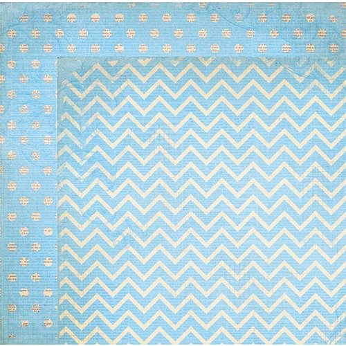 BoBunny - Double Dot Designs Collection - 12 x 12 Double Sided Paper - Chevron - Powder Blue