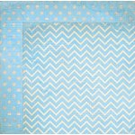 Bo Bunny - Double Dot Designs Collection - 12 x 12 Double Sided Paper - Chevron - Powder Blue