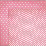 Bo Bunny - Double Dot Designs Collection - 12 x 12 Double Sided Paper - Chevron - Passion Fruit