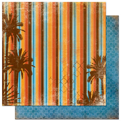 Bo Bunny Press - Paradise Collection - 12 x 12 Double Sided Paper - Paradise Sunset, CLEARANCE