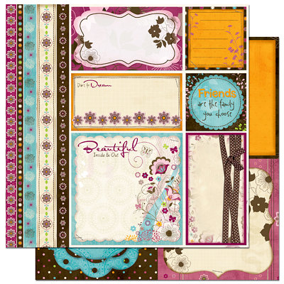 Bo Bunny Press - Sophie Collection - 12 x 12 Double Sided Paper - Sophie Cut Outs