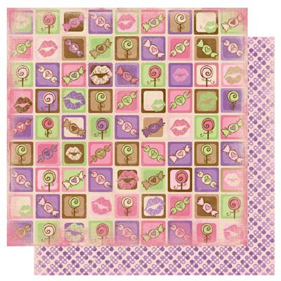 Bo Bunny - Smoochable Collection - 12 x 12 Double Sided Paper - Eye Candy