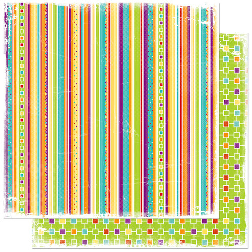 Bo Bunny Press - Sun Kissed Collection - 12 x 12 Double Sided Paper - Sun Kissed Stripe