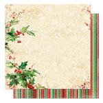 Bo Bunny Press - St. Nick Collection - Christmas - 12 x 12 Double Sided Paper - St. Nick Holly Berry, CLEARANCE