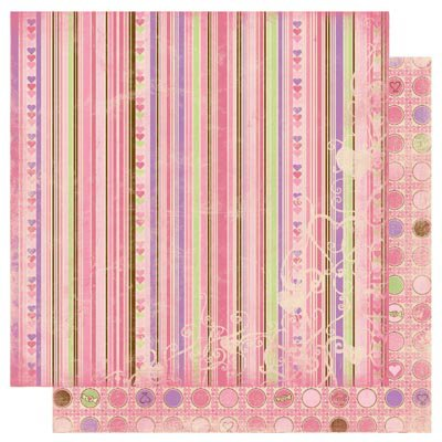 Bo Bunny Press - Smoochable Collection - 12 x 12 Double Sided Paper - Stripe