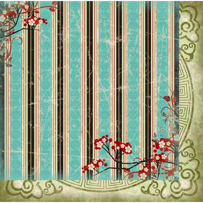 Bo Bunny Press - Serenity Collection - 12 x 12 Double Sided Paper - Stripe