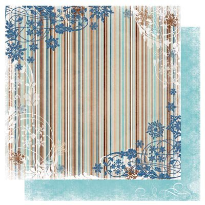 Bo Bunny Press - Snowfall Collection - 12 x 12 Double Sided Paper - Stripe