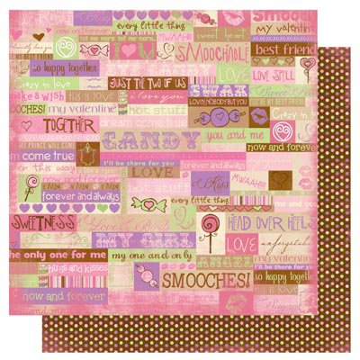 Bo Bunny Press - Smoochable Collection - 12 x 12 Double Sided Paper - Words
