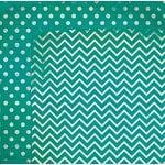 Bo Bunny - Double Dot Designs Collection - 12 x 12 Double Sided Paper - Chevron - Turquoise