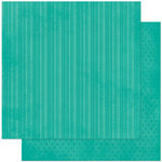 Bo Bunny Press - Double Dot Designs Collection - 12 x 12 Double Sided Paper - Stripe - Turquoise