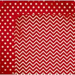 BoBunny - Double Dot Designs Collection - 12 x 12 Double Sided Paper - Chevron - Wild Berry