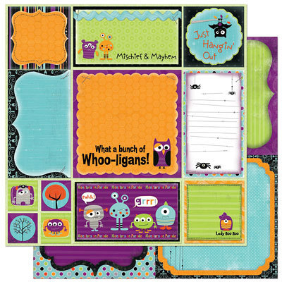 Bo Bunny Press - Whoo-ligans Collection - Halloween - 12 x 12 Double Sided Paper - Whoo-ligans Cut Outs