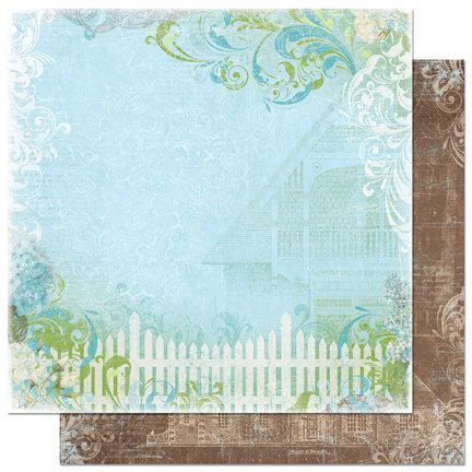 Bo Bunny Press - Welcome Home Collection - 12 x 12 Double Sided Paper - Picket Fence