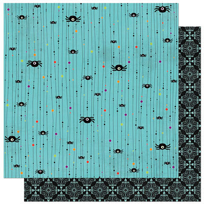 Bo Bunny Press - Whoo-ligans Collection - Halloween - 12 x 12 Double Sided Paper - Whoo-ligans Spiders