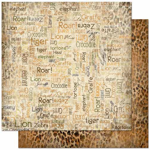 Bo Bunny - Zoology Collection - 12 x 12 Double Sided Paper - Word