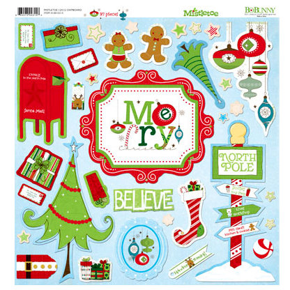 Bo Bunny - Mistletoe Collection - Christmas - 12 x 12 Chipboard Stickers