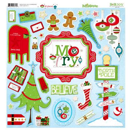 Bo Bunny - Mistletoe Collection - Christmas - 12 x 12 Chipboard Stickers