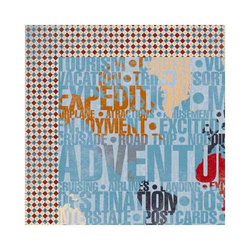 Bo Bunny - Detour Collection - 12 x 12 Double Sided Paper - Destination