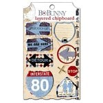 Bo Bunny - Detour Collection - Layered Chipboard Stickers with Jewel Accents