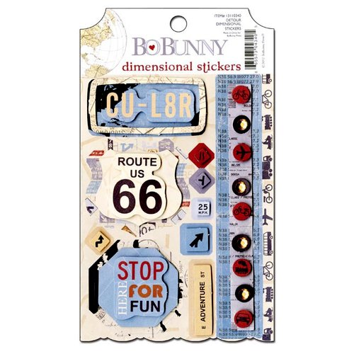 Bo Bunny - Detour Collection - 3 Dimensional Stickers with Glitter and Jewel Accents