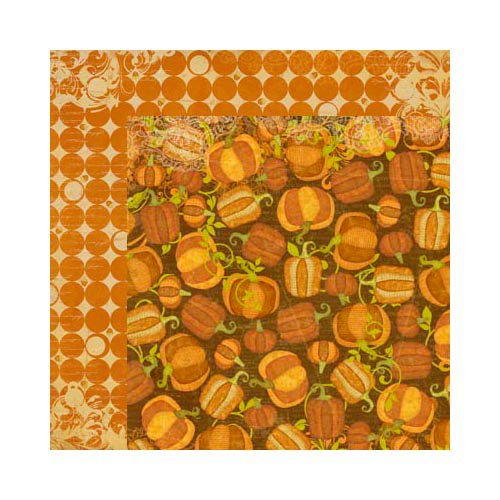 Bo Bunny - Apple Cider Collection - 12 x 12 Double Sided Paper - Pumpkin Patch