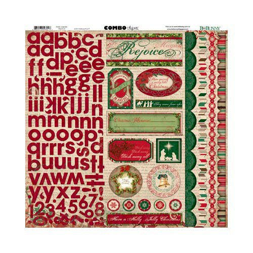 Bo Bunny - Rejoice Collection - Christmas - 12 x 12 Cardstock Stickers - Combo