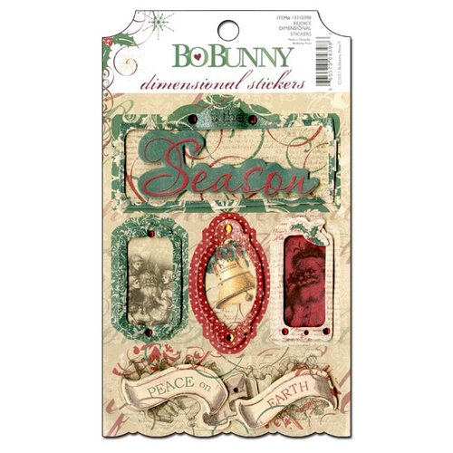 Bo Bunny Press - Rejoice Collection - Christmas - 3 Dimensional Stickers with Glitter and Jewel Accents