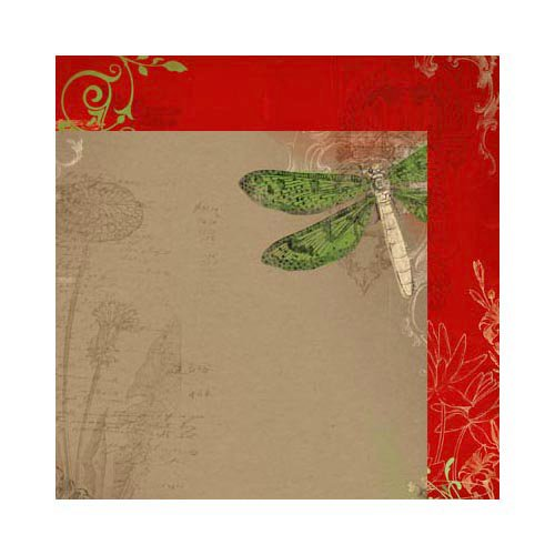 Bo Bunny - Serenade Collection - 12 x 12 Double Sided Paper - Dragonfly