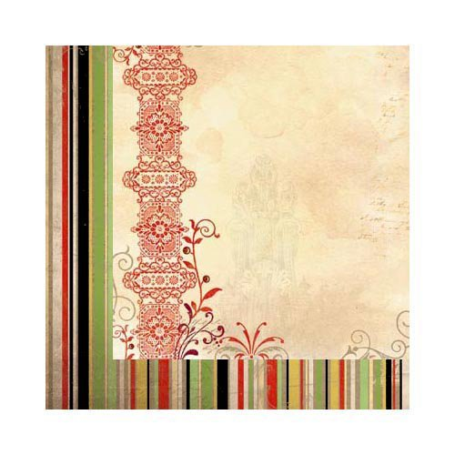 Bo Bunny - Serenade Collection - 12 x 12 Double Sided Paper - Stripe