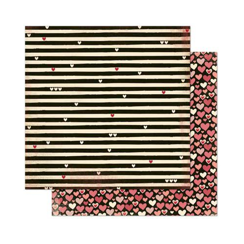 Bo Bunny - Love Letters Collection - 12 x 12 Double Sided Paper - Stripe