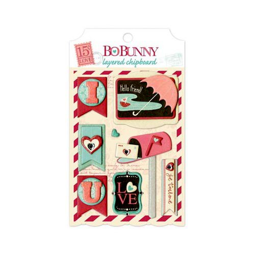 Bo Bunny - Love Letters Collection - Layered Chipboard Stickers with Glitter and Jewel Accents