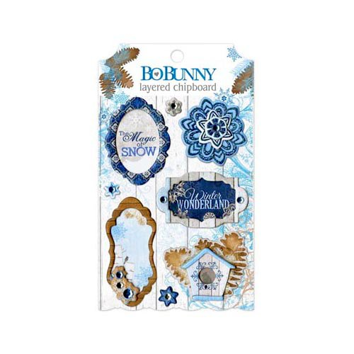 Bo Bunny - Powder Mountain Collection - Layered Chipboard Stickers with Glitter and Jewel Accents
