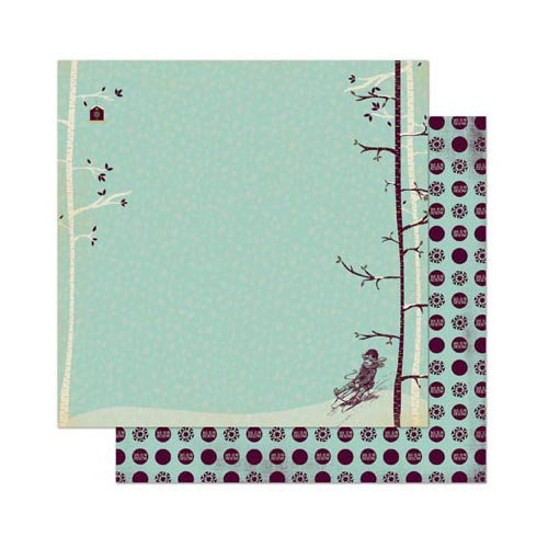 Bo Bunny - Snow Day Collection - 12 x 12 Double Sided Paper - Sledding