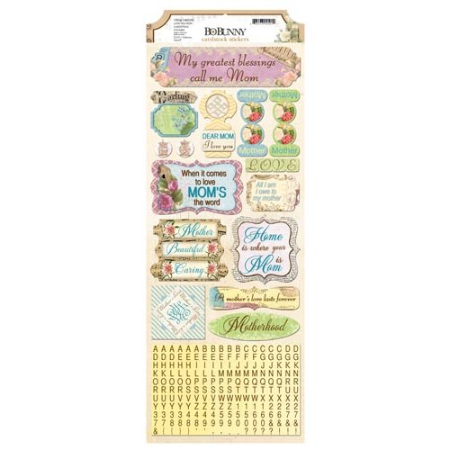 BoBunny - C'est la Vie Collection - Cardstock Stickers - Love You Mom