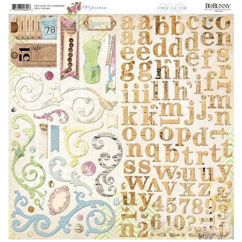 Bo Bunny - C'est la Vie Collection - 12 x 12 Chipboard Stickers