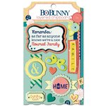 Bo Bunny - Family Is Collection - Layered Chipboard Stickers with Glitter and Jewel Accents